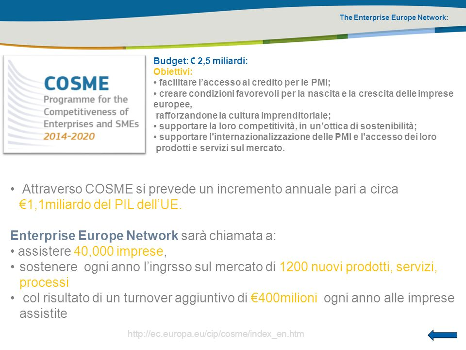 The Enterprise Europe Network: Budget: 2,5 miliardi: Obiettivi: facilitare laccesso al credito per le PMI; creare condizioni favorevoli per la nascita