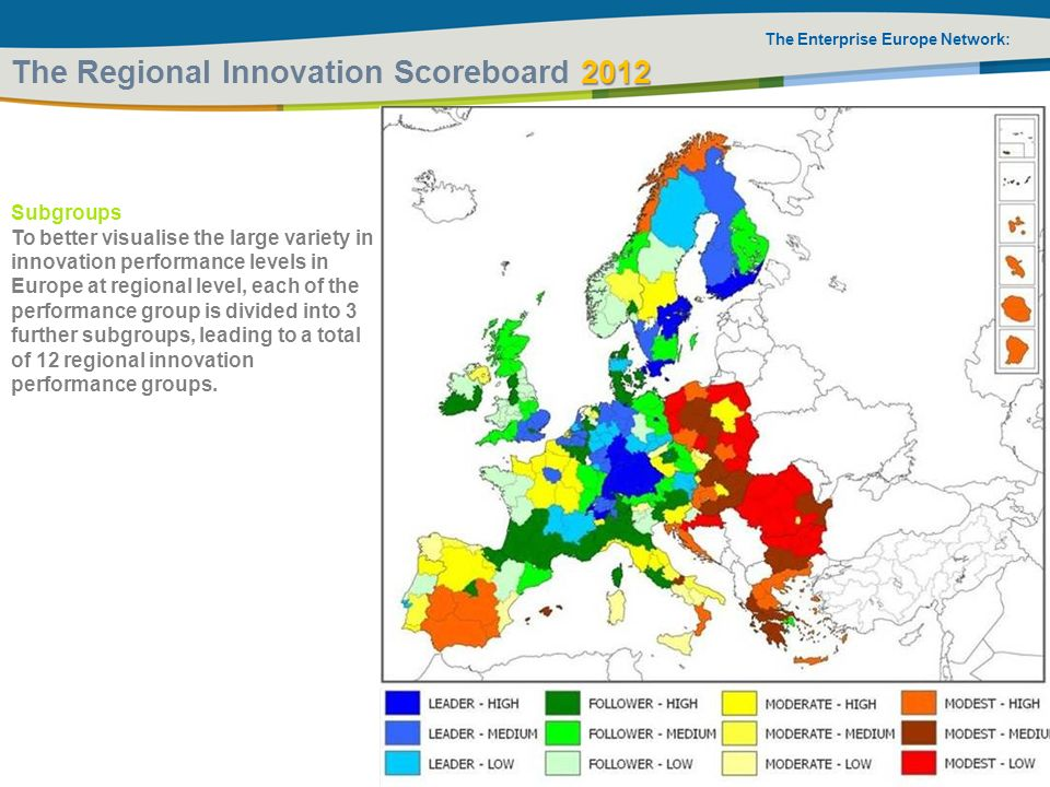 The Enterprise Europe Network: 2012 The Regional Innovation Scoreboard 2012 Subgroups To better visualise the large variety in innovation performance