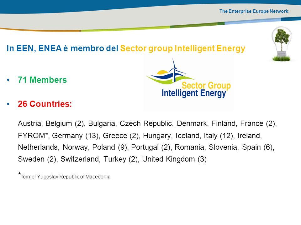 The Enterprise Europe Network: In EEN, ENEA è membro del Sector group Intelligent Energy 71 Members 26 Countries: Austria, Belgium (2), Bulgaria, Czec
