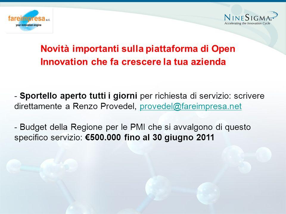 Page 1 Novità importanti sulla piattaforma di Open Innovation che fa crescere la tua azienda - Sportello aperto tutti i giorni per richiesta di serviz