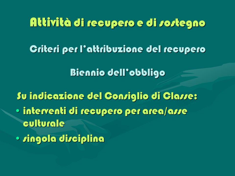 Attività di recupero e di sostegno Criteri per lattribuzione del recupero Biennio dellobbligo Su indicazione del Consiglio di Classe: Su indicazione d