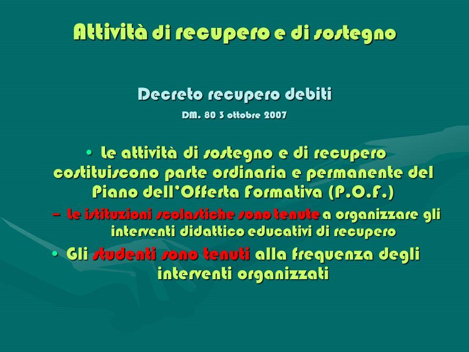Attività di recupero e di sostegno Decreto recupero debiti DM. 80 3 ottobre 2007 Le attività di sostegno e di recupero costituiscono parte ordinaria e