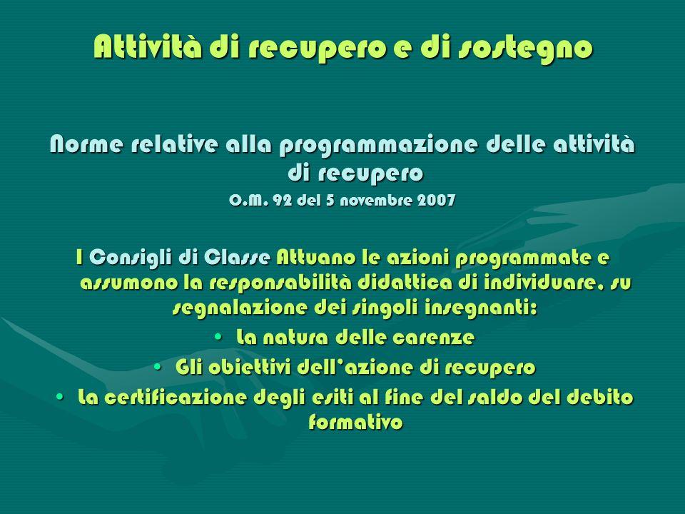 Attività di recupero e di sostegno Norme relative alla programmazione delle attività di recupero O.M. 92 del 5 novembre 2007 I Consigli di Classe Attu