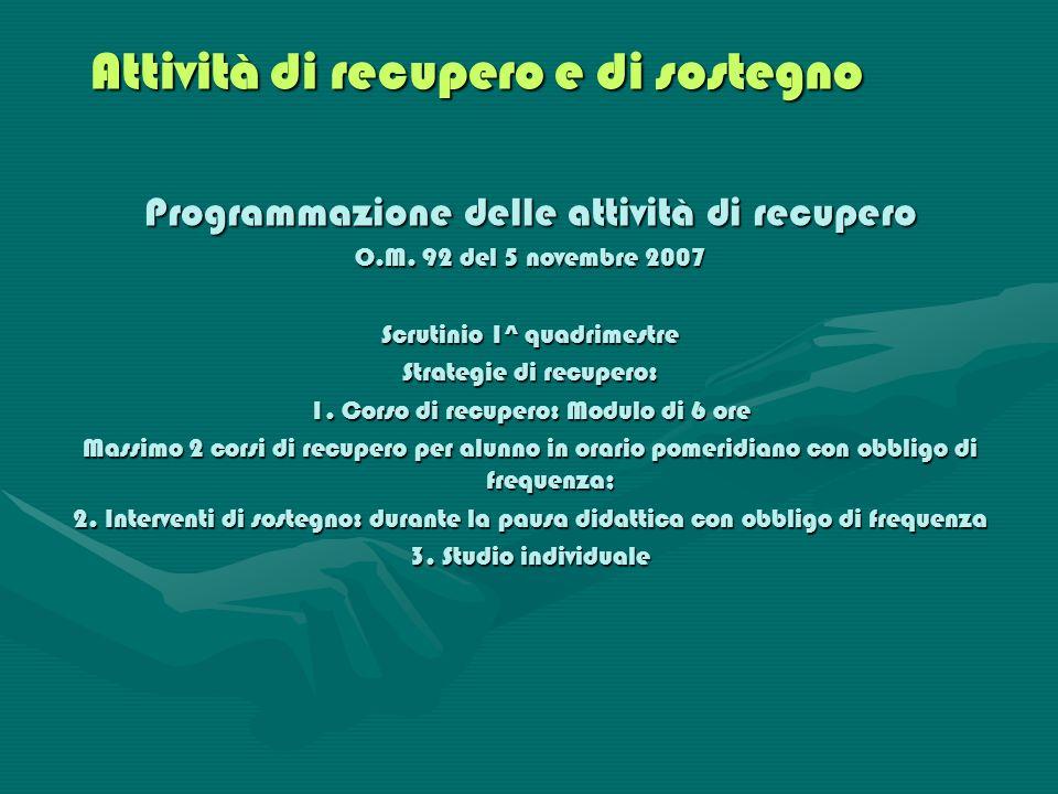 Attività di recupero e di sostegno Programmazione delle attività di recupero O.M. 92 del 5 novembre 2007 Scrutinio 1^ quadrimestre Strategie di recupe