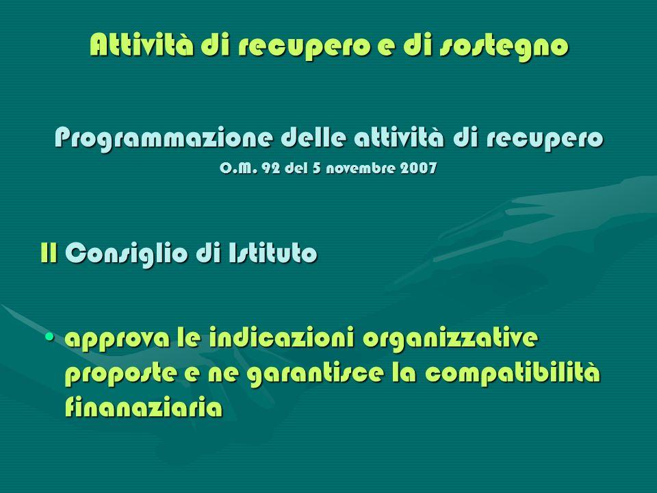 Attività di recupero e di sostegno Programmazione delle attività di recupero O.M. 92 del 5 novembre 2007 Il Consiglio di Istituto approva le indicazio