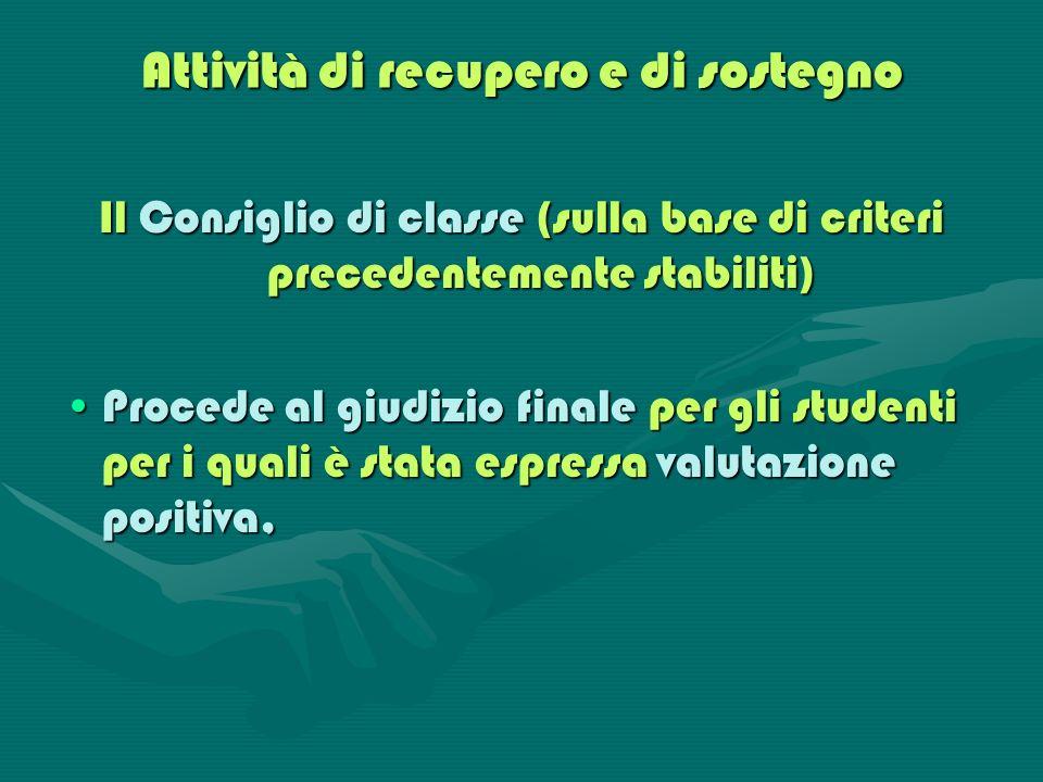 Attività di recupero e di sostegno Il Consiglio di classe (sulla base di criteri precedentemente stabiliti) Procede al giudizio finale per gli student