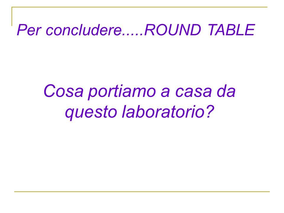 Per concludere.....ROUND TABLE Cosa portiamo a casa da questo laboratorio?