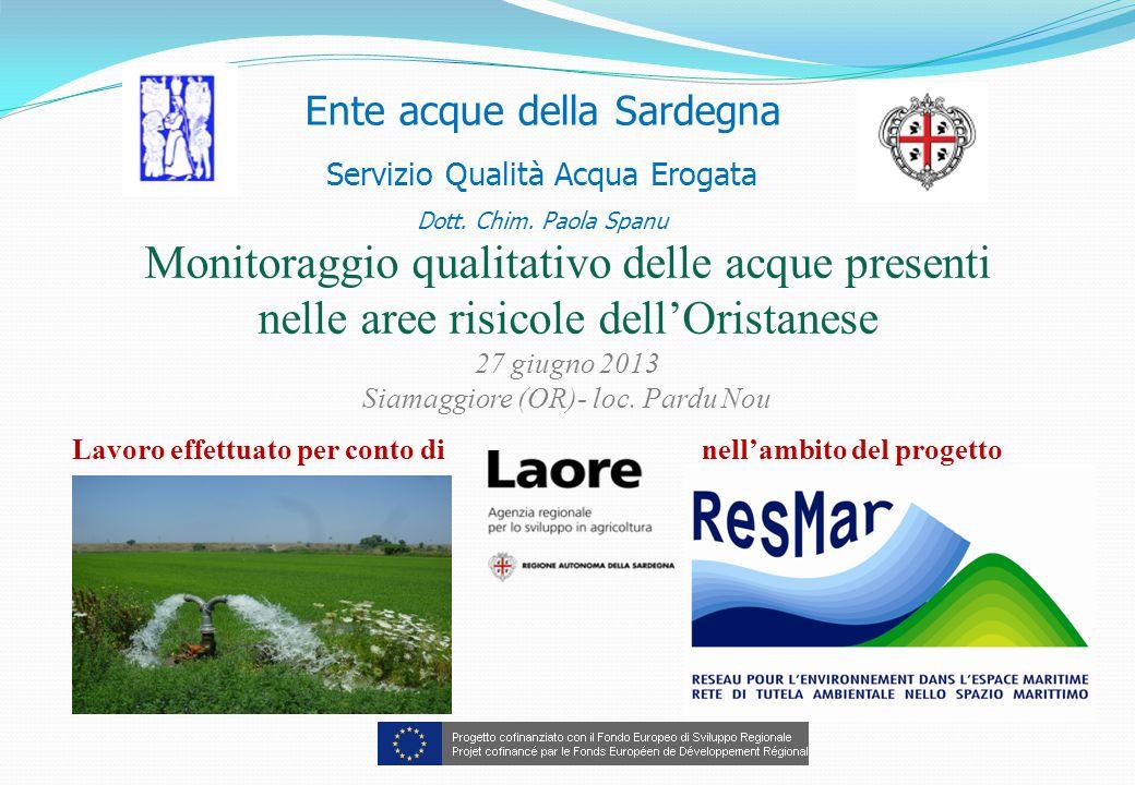 Ente acque della Sardegna Servizio Qualità Acqua Erogata Dott. Chim. Paola Spanu Monitoraggio qualitativo delle acque presenti nelle aree risicole del