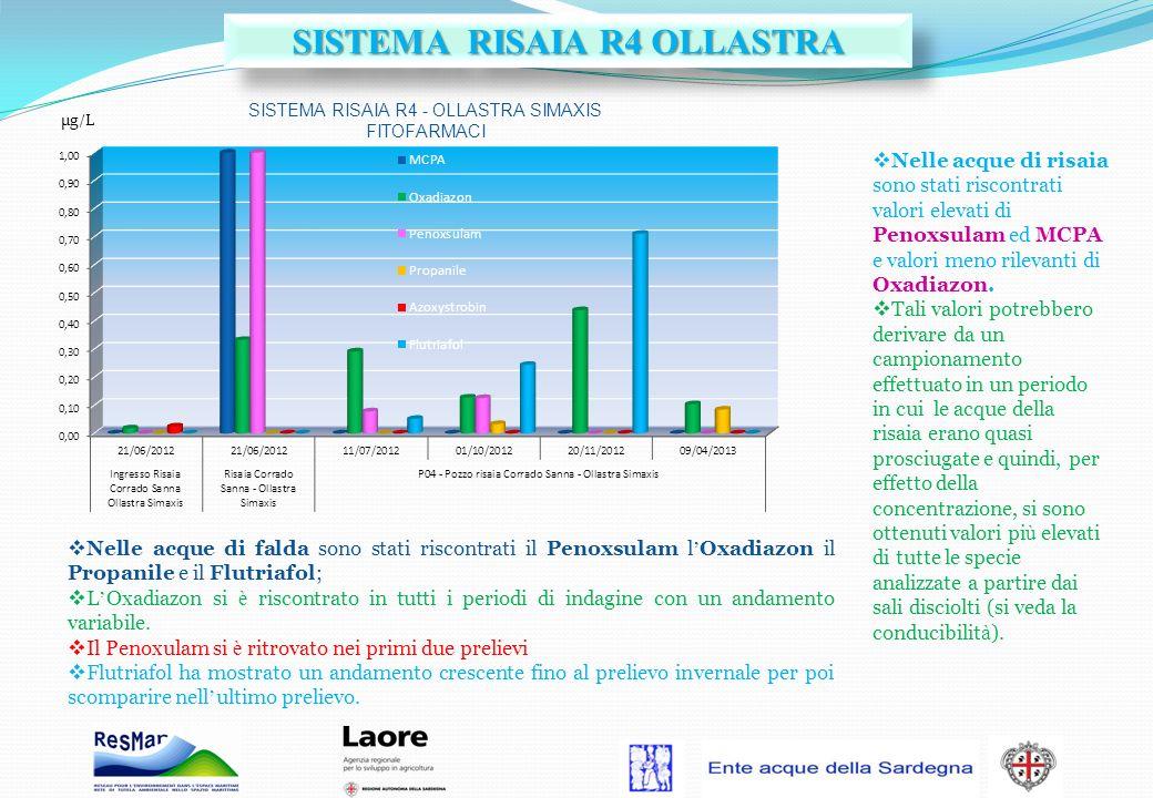 Nelle acque di risaia sono stati riscontrati valori elevati di Penoxsulam ed MCPA e valori meno rilevanti di Oxadiazon. Tali valori potrebbero derivar