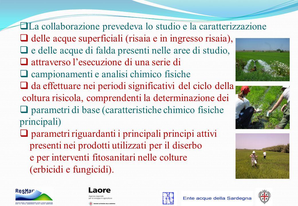 La collaborazione prevedeva lo studio e la caratterizzazione delle acque superficiali (risaia e in ingresso risaia), e delle acque di falda presenti n