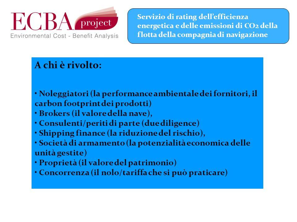A chi è rivolto: Noleggiatori (la performance ambientale dei fornitori, il carbon footprint dei prodotti) Brokers (il valore della nave), Consulenti/p