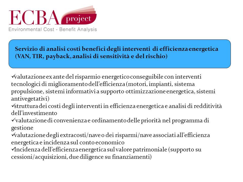Servizio di analisi costi benefici degli interventi di efficienza energetica (VAN, TIR, payback, analisi di sensitività e del rischio) valutazione ex