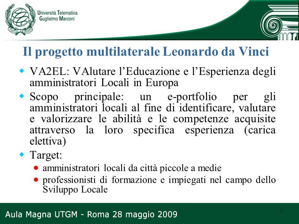 2 Il progetto multilaterale Leonardo da Vinci VA2EL: VAlutare lEducazione e lEsperienza degli amministratori Locali in Europa Scopo principale: un e-p