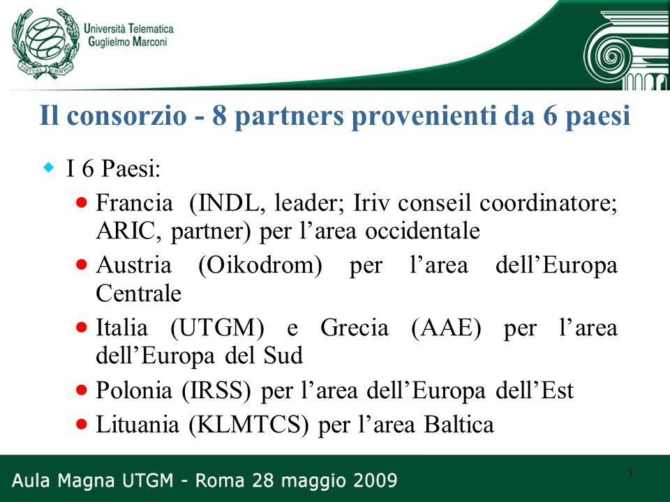 3 Il consorzio - 8 partners provenienti da 6 paesi I 6 Paesi: Francia (INDL, leader; Iriv conseil coordinatore; ARIC, partner) per larea occidentale A