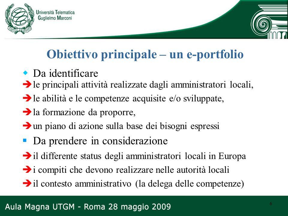 6 Obiettivo principale – un e-portfolio Da identificare le principali attività realizzate dagli amministratori locali, le abilità e le competenze acqu