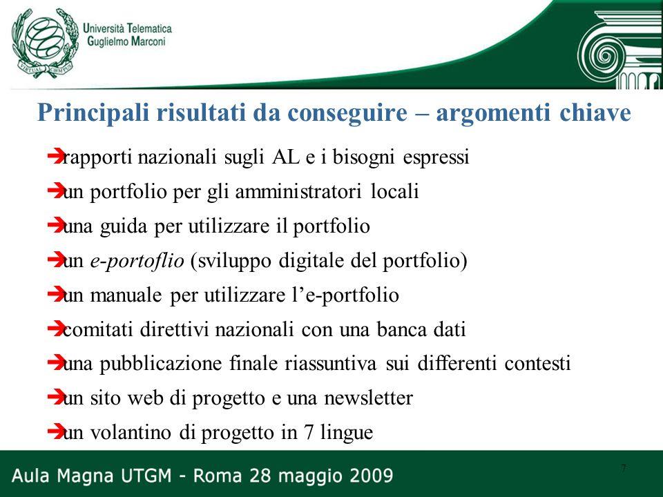 7 Principali risultati da conseguire – argomenti chiave rapporti nazionali sugli AL e i bisogni espressi un portfolio per gli amministratori locali un
