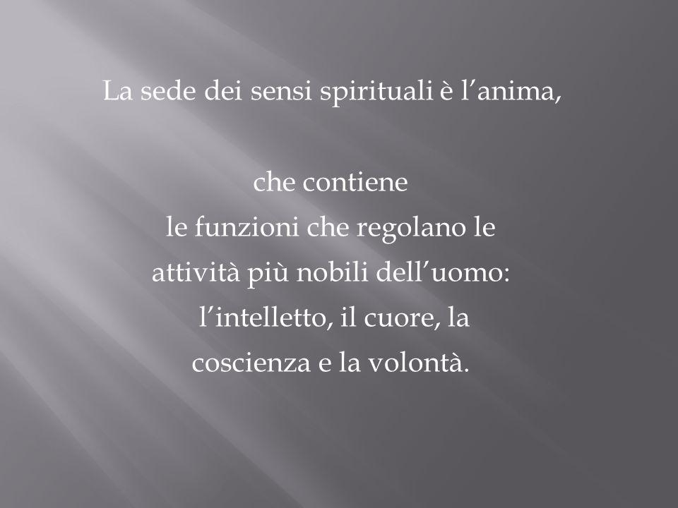 La sede dei sensi spirituali è lanima, che contiene le funzioni che regolano le attività più nobili delluomo: lintelletto, il cuore, la coscienza e la