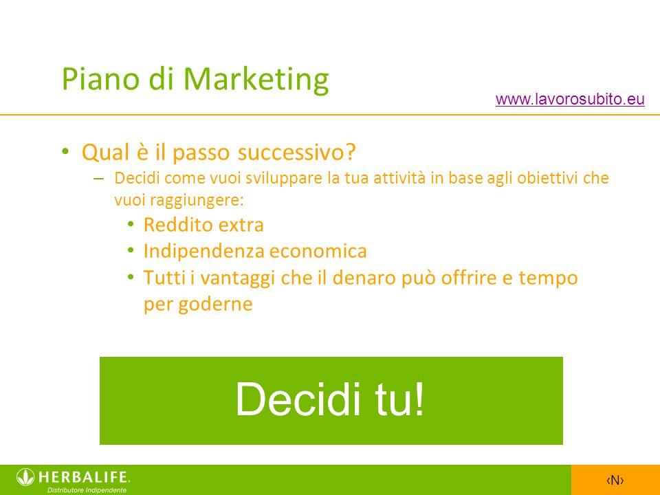 N Piano di Marketing Qual è il passo successivo? – Decidi come vuoi sviluppare la tua attività in base agli obiettivi che vuoi raggiungere: Reddito ex