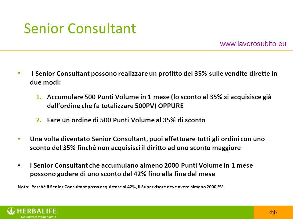 N I Senior Consultant possono realizzare un profitto del 35% sulle vendite dirette in due modi: 1.Accumulare 500 Punti Volume in 1 mese (lo sconto al