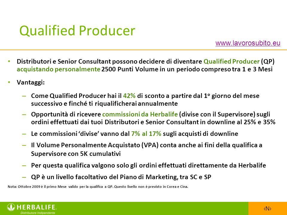 N Distributori e Senior Consultant possono decidere di diventare Qualified Producer (QP) acquistando personalmente 2500 Punti Volume in un periodo com