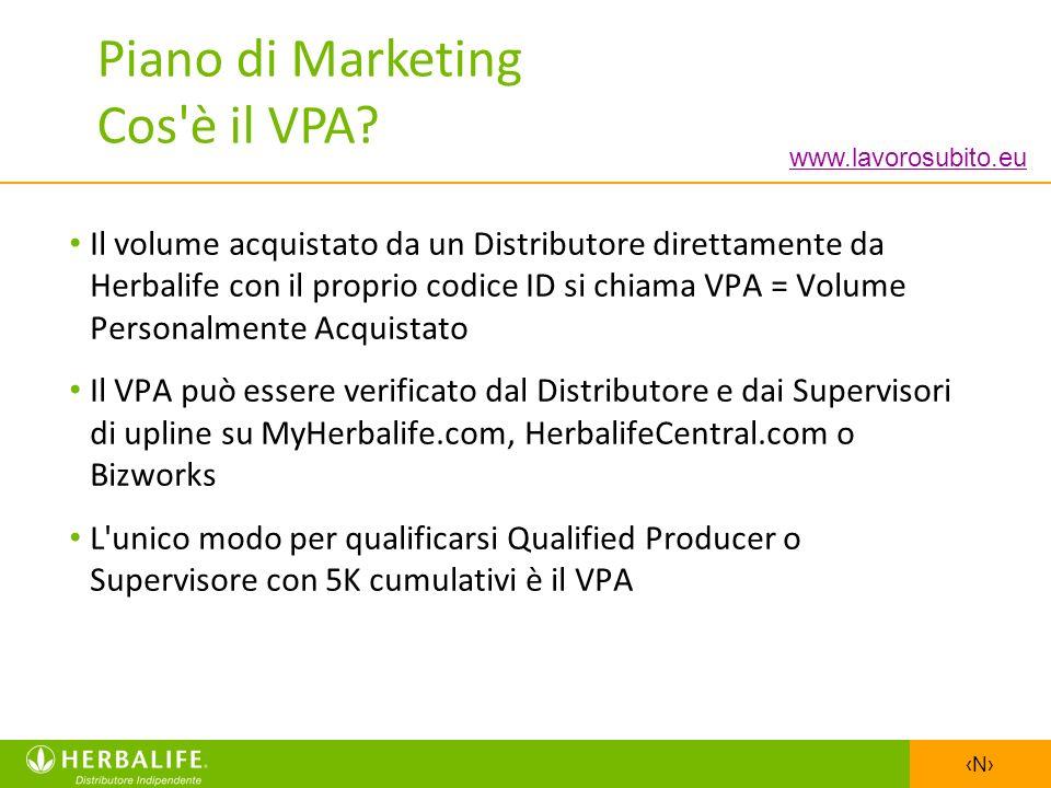 N Il volume acquistato da un Distributore direttamente da Herbalife con il proprio codice ID si chiama VPA = Volume Personalmente Acquistato Il VPA pu