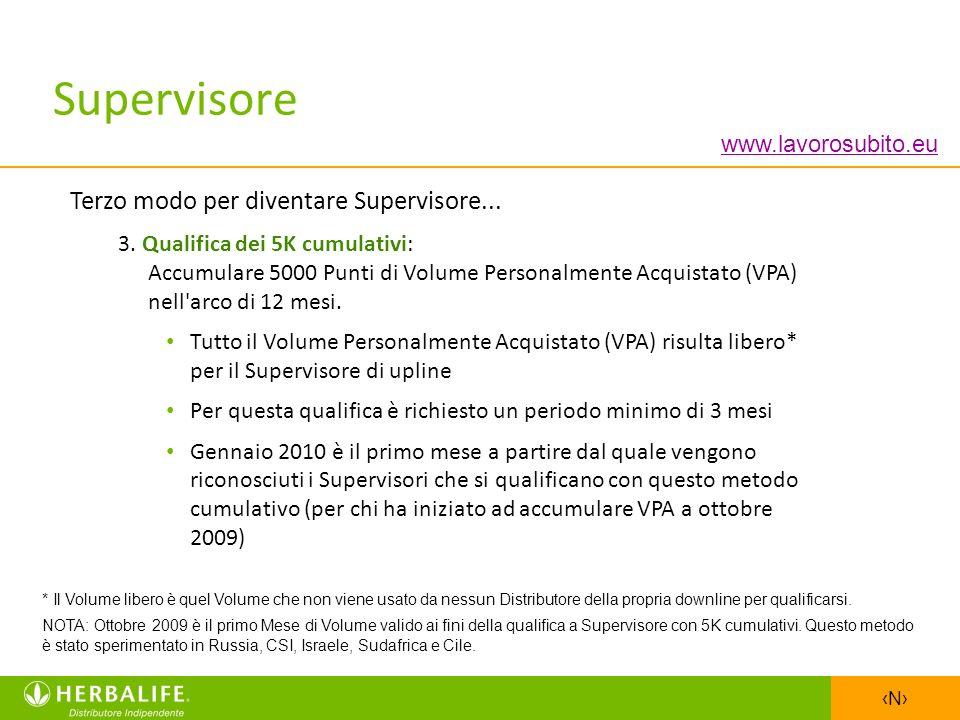 N Terzo modo per diventare Supervisore... 3. Qualifica dei 5K cumulativi: Accumulare 5000 Punti di Volume Personalmente Acquistato (VPA) nell'arco di