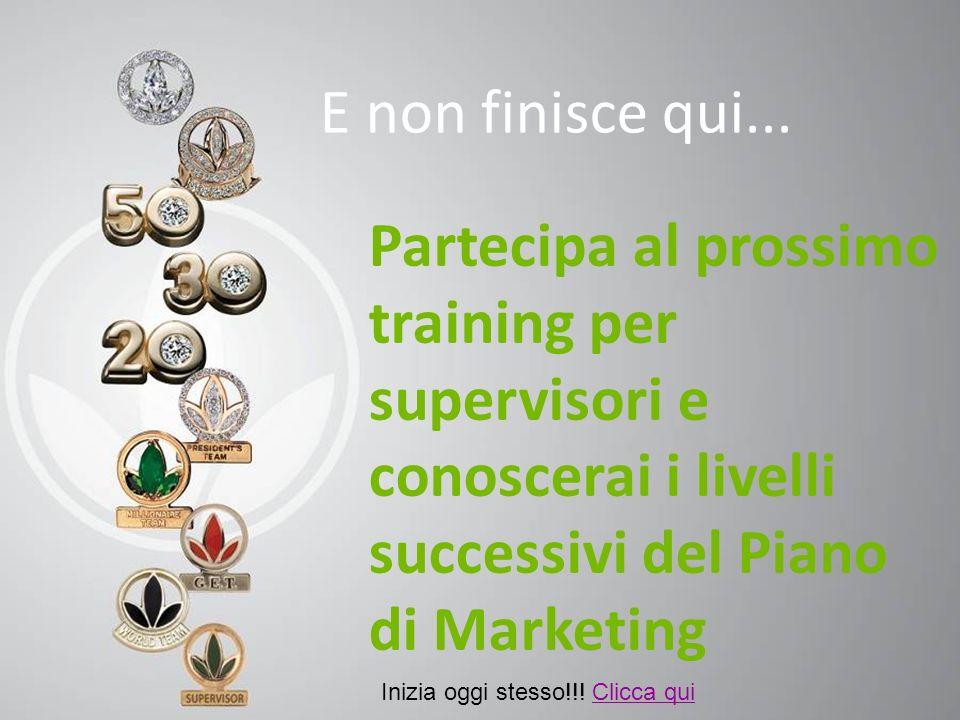 N E non finisce qui... Partecipa al prossimo training per supervisori e conoscerai i livelli successivi del Piano di Marketing Inizia oggi stesso!!! C