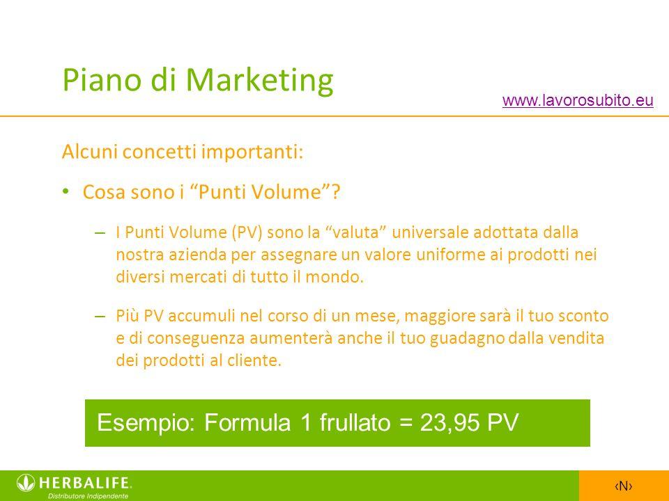 N Piano di Marketing Alcuni concetti importanti: Cosa sono i Punti Volume? – I Punti Volume (PV) sono la valuta universale adottata dalla nostra azien
