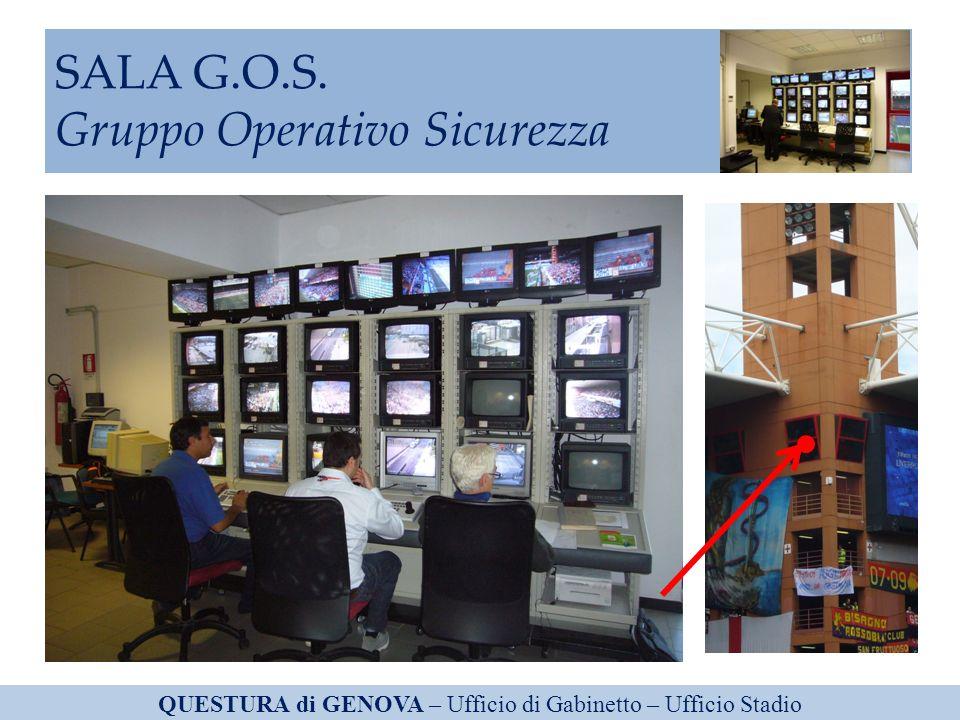 SALA G.O.S. Gruppo Operativo Sicurezza QUESTURA di GENOVA – Ufficio di Gabinetto – Ufficio Stadio