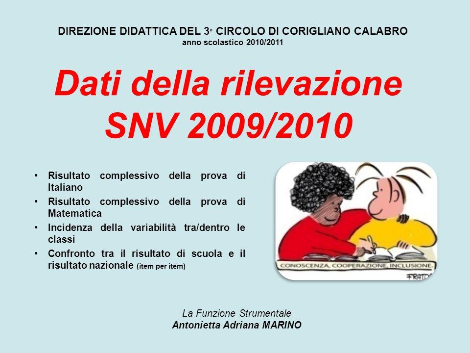DIREZIONE DIDATTICA DEL 3 ° CIRCOLO DI CORIGLIANO CALABRO anno scolastico 2010/2011 Risultato complessivo della prova di Italiano Risultato complessiv