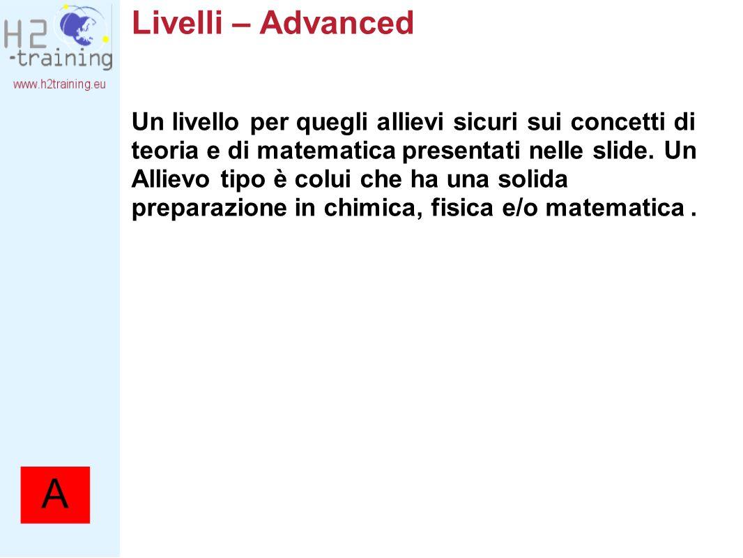 Livelli – Advanced Un livello per quegli allievi sicuri sui concetti di teoria e di matematica presentati nelle slide. Un Allievo tipo è colui che ha