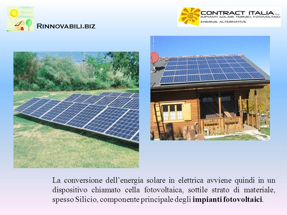 Rinnovabili.biz La conversione dellenergia solare in elettrica avviene quindi in un dispositivo chiamato cella fotovoltaica, sottile strato di materia