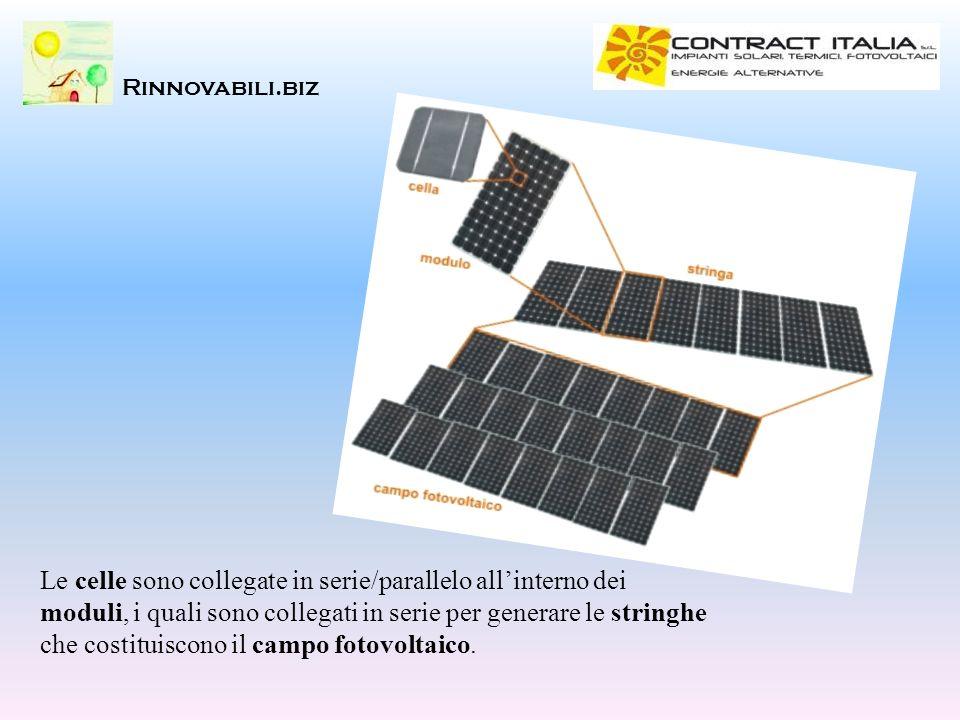 Rinnovabili.biz Le celle sono collegate in serie/parallelo allinterno dei moduli, i quali sono collegati in serie per generare le stringhe che costitu