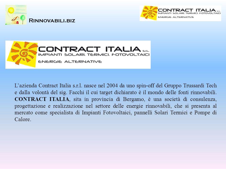 Lazienda Contract Italia s.r.l. nasce nel 2004 da uno spin-off del Gruppo Trussardi Tech e dalla volontà del sig. Facchi il cui target dichiarato è il