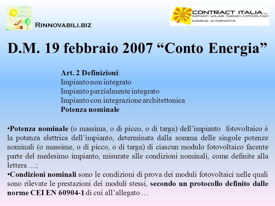 Rinnovabili.biz Art. 2 Definizioni: Impianto non integrato Impianto parzialmente integrato Impianto con integrazione architettonica Potenza nominale D