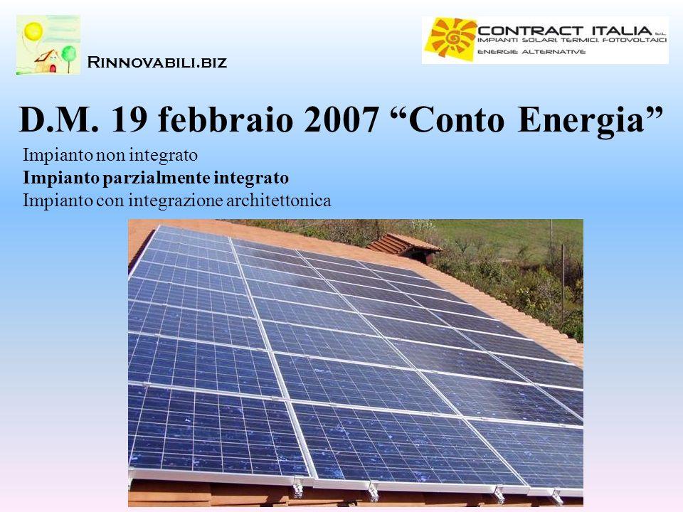 Rinnovabili.biz Impianto non integrato Impianto parzialmente integrato Impianto con integrazione architettonica D.M. 19 febbraio 2007 Conto Energia