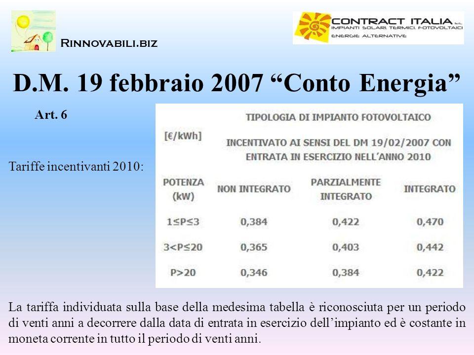 Rinnovabili.biz D.M. 19 febbraio 2007 Conto Energia Tariffe incentivanti 2010: Art. 6 La tariffa individuata sulla base della medesima tabella è ricon