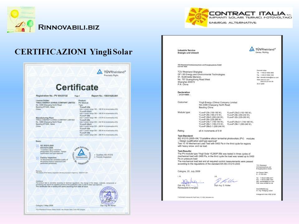 Rinnovabili.biz CERTIFICAZIONI Yingli Solar