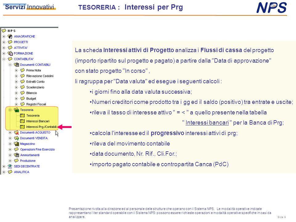 La scheda Interessi attivi di Progetto analizza i Flussi di cassa del progetto (importo ripartito sul progetto e pagato) a partire dalla