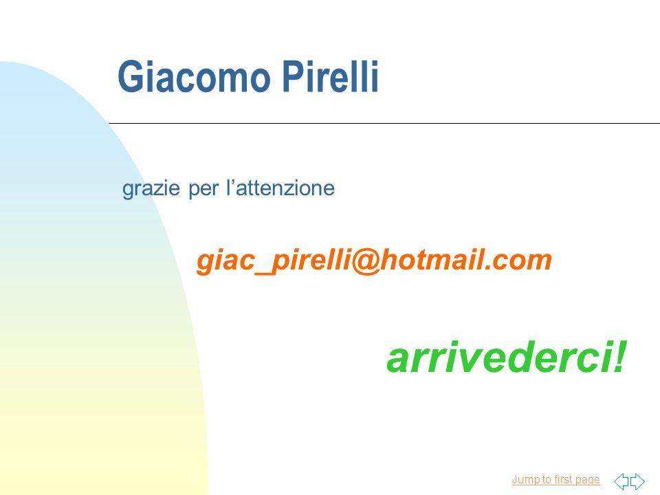 Jump to first page Giacomo Pirelli grazie per lattenzione giac_pirelli@hotmail.com arrivederci!