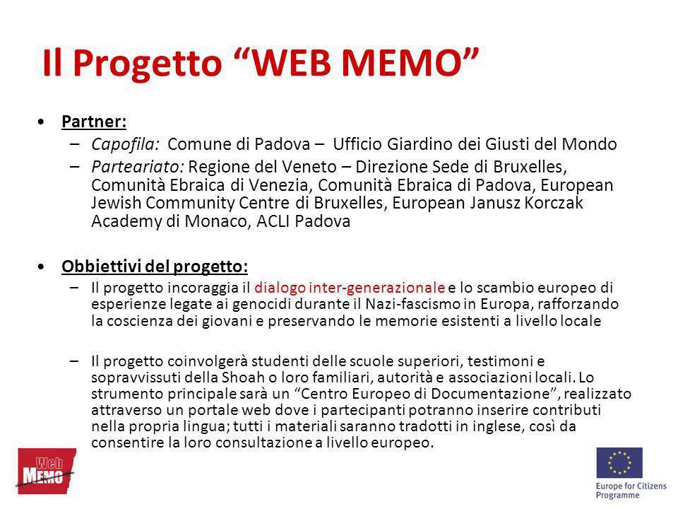 Partner: –Capofila: Comune di Padova – Ufficio Giardino dei Giusti del Mondo –Parteariato: Regione del Veneto – Direzione Sede di Bruxelles, Comunità