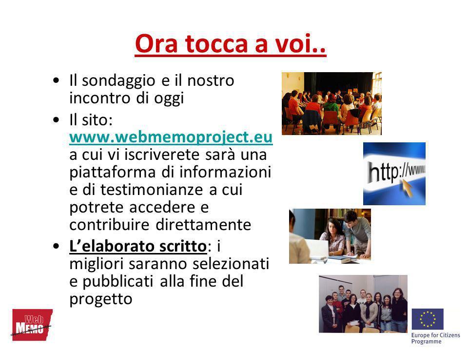 Ora tocca a voi.. Il sondaggio e il nostro incontro di oggi Il sito: www.webmemoproject.eu a cui vi iscriverete sarà una piattaforma di informazioni e
