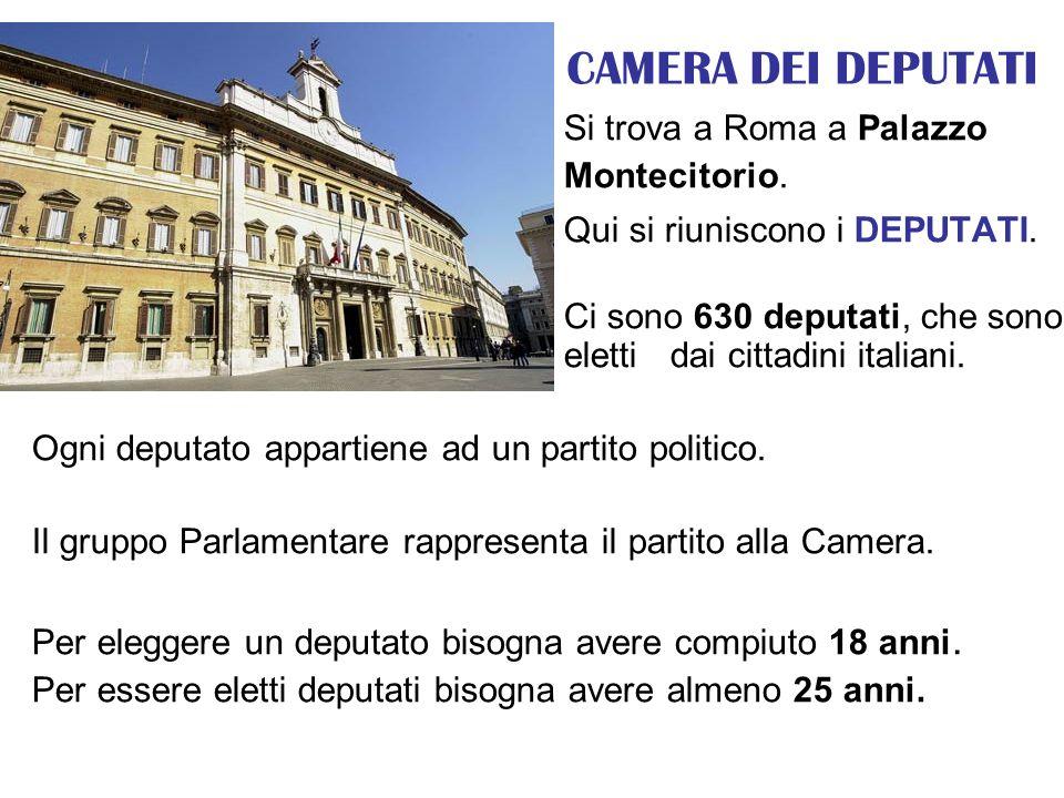 CAMERA DEI DEPUTATI Si trova a Roma a Palazzo Montecitorio. Qui si riuniscono i DEPUTATI. Ci sono 630 deputati, che sono eletti dai cittadini italiani