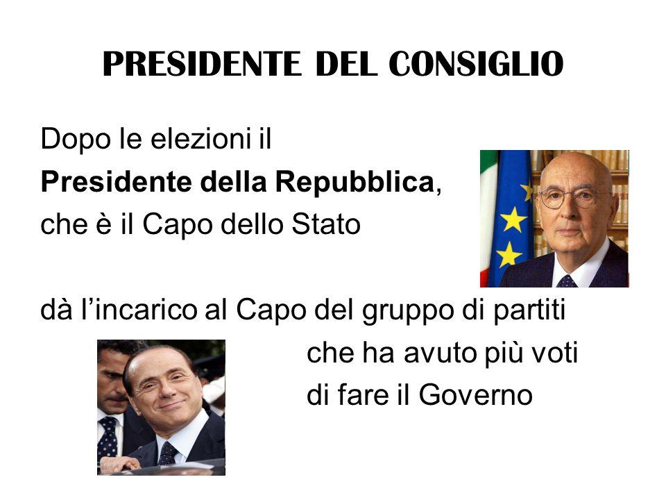 PRESIDENTE DEL CONSIGLIO Dopo le elezioni il Presidente della Repubblica, che è il Capo dello Stato dà lincarico al Capo del gruppo di partiti che ha