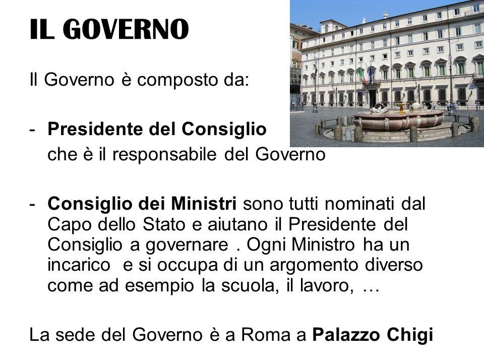 IL GOVERNO Il Governo è composto da: -Presidente del Consiglio che è il responsabile del Governo -Consiglio dei Ministri sono tutti nominati dal Capo