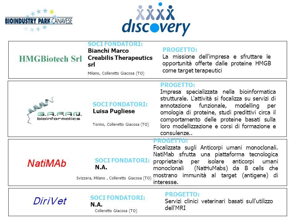 SOCI FONDATORI: Bianchi Marco Creabilis Therapeutics srl PROGETTO: La missione dell'impresa e sfruttare le opportunità offerte dalle proteine HMGB com