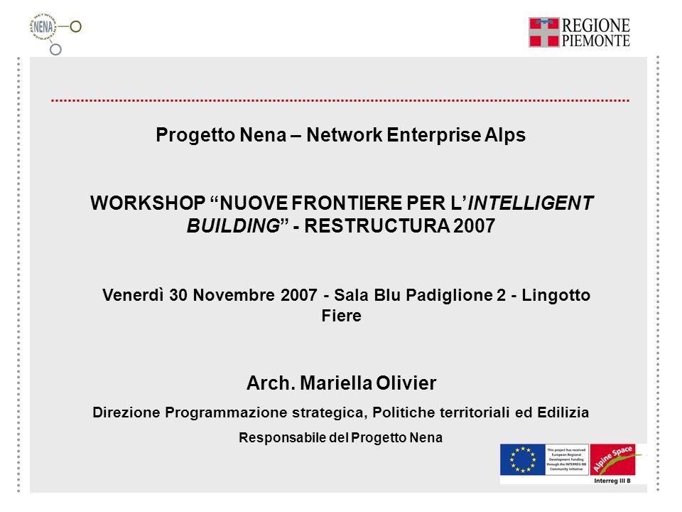 Progetto Nena – Network Enterprise Alps WORKSHOP NUOVE FRONTIERE PER LINTELLIGENT BUILDING - RESTRUCTURA 2007 Venerdì 30 Novembre 2007 - Sala Blu Padi