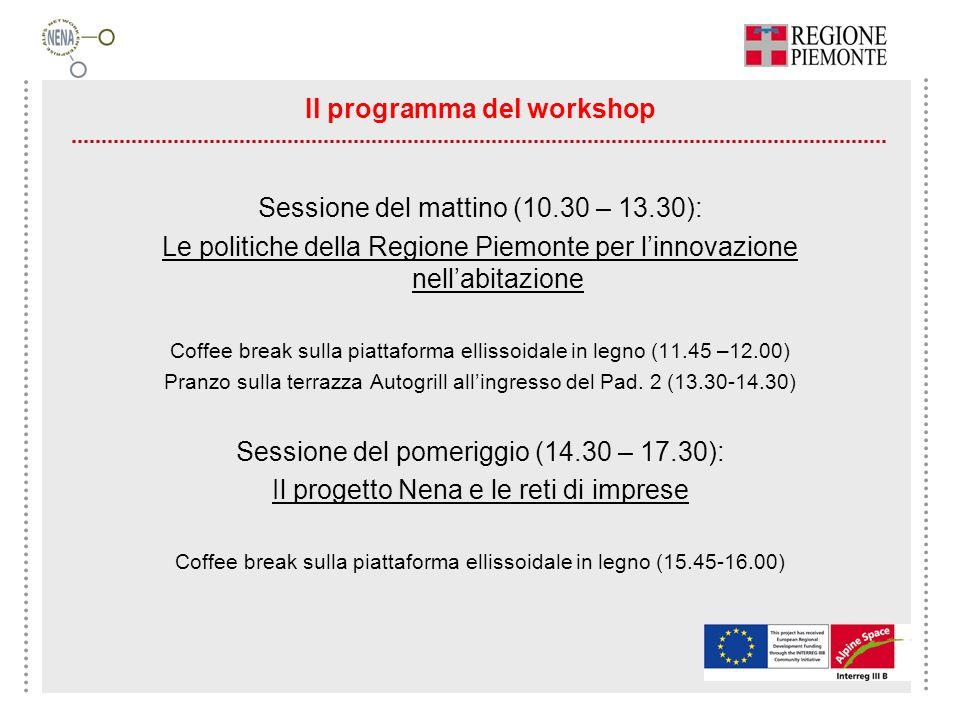 Il programma del workshop Sessione del mattino (10.30 – 13.30): Le politiche della Regione Piemonte per linnovazione nellabitazione Coffee break sulla
