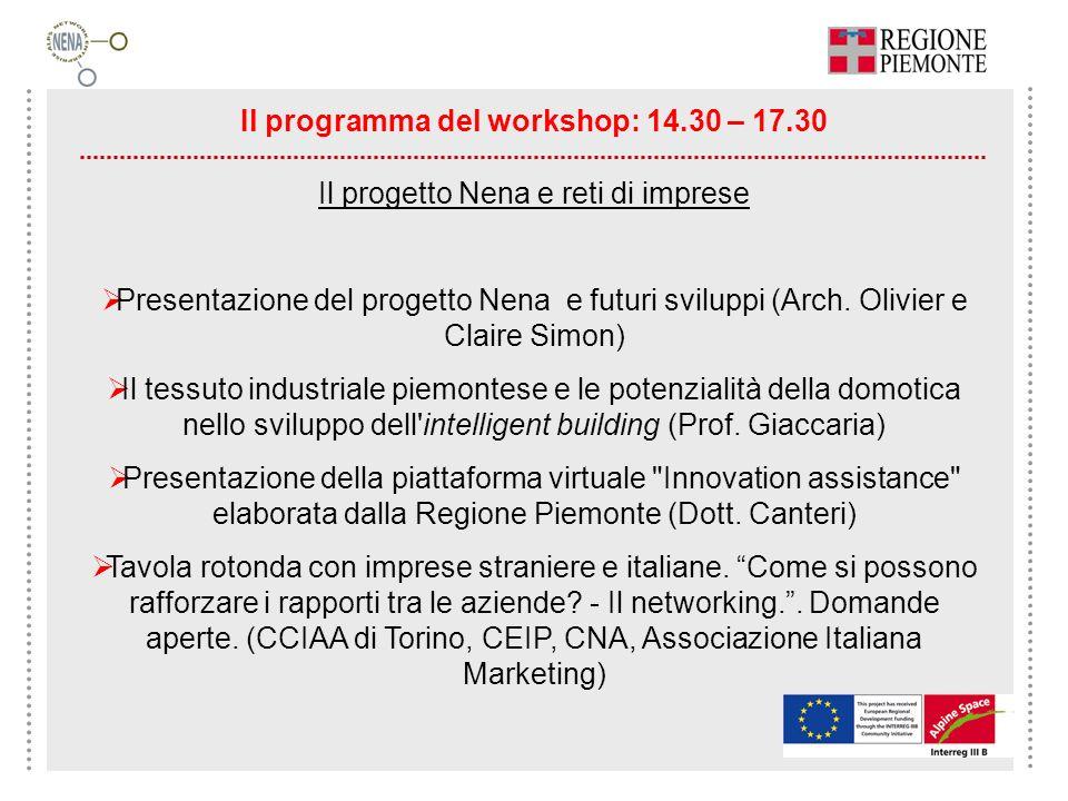 Il programma del workshop: 14.30 – 17.30 Il progetto Nena e reti di imprese Presentazione del progetto Nena e futuri sviluppi (Arch. Olivier e Claire