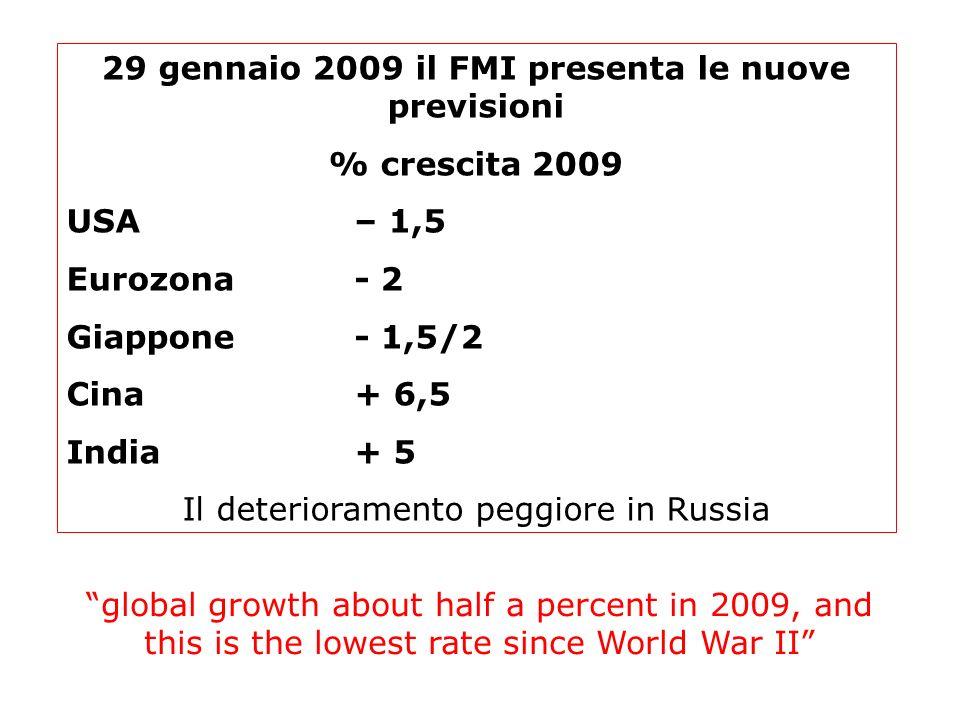 29 gennaio 2009 il FMI presenta le nuove previsioni % crescita 2009 USA– 1,5 Eurozona- 2 Giappone- 1,5/2 Cina+ 6,5 India+ 5 Il deterioramento peggiore
